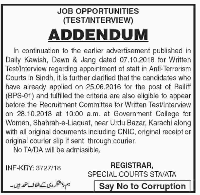Anti Terrorism Court Sindh Jobs