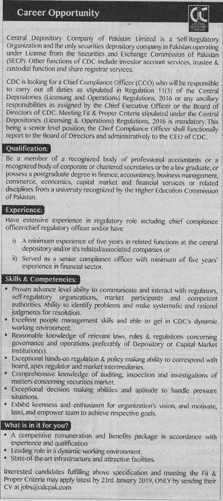 Central Depository Company Of Pakistan Jobs For Chief Compliance Officer