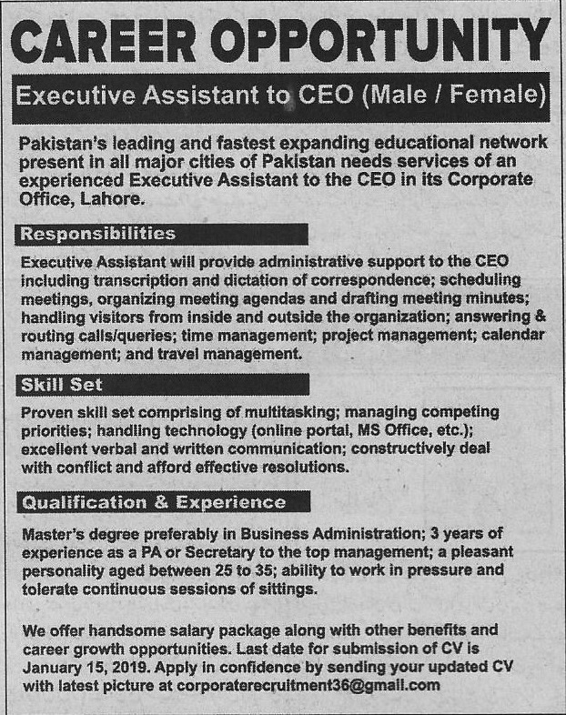 Executive Assistant to Ceo Jobs In Lahore