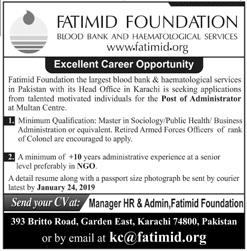 Fatimid Foundation Karachi Jobs for Administrator