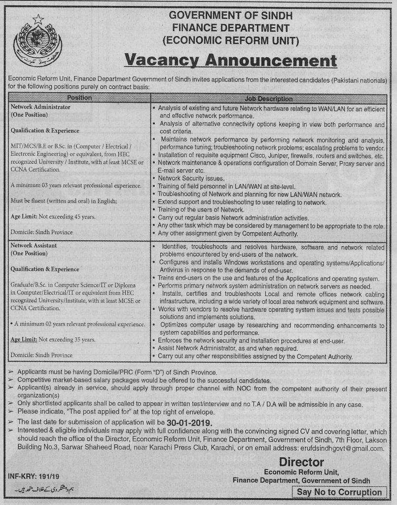 Finance Department Karachi Jobs For Network Administrator