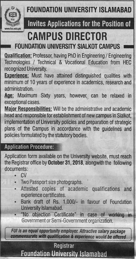 Foundation University Islamabad Jobs
