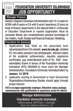 Foundation University Islamabad Jobs for Manager Finance