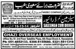 Ghazi overseas Employment Rawalpindi Jobs For Salesman Cum