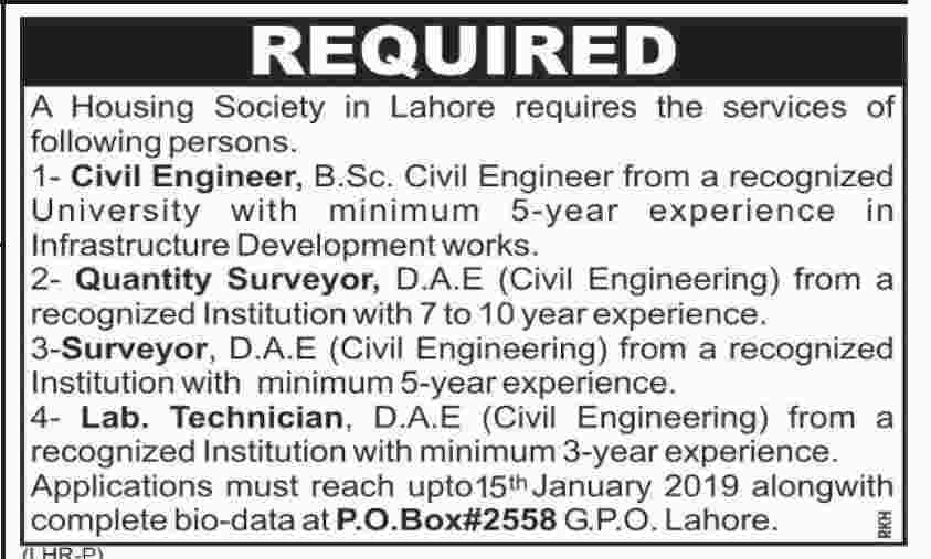 Housing Society Lahore Jobs