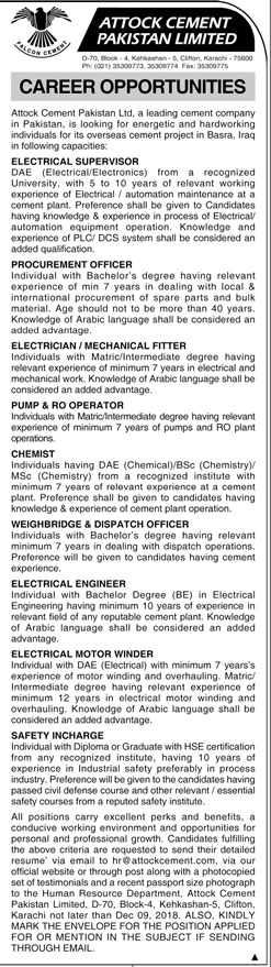Jobs in Attock Cement Pakistan Limited