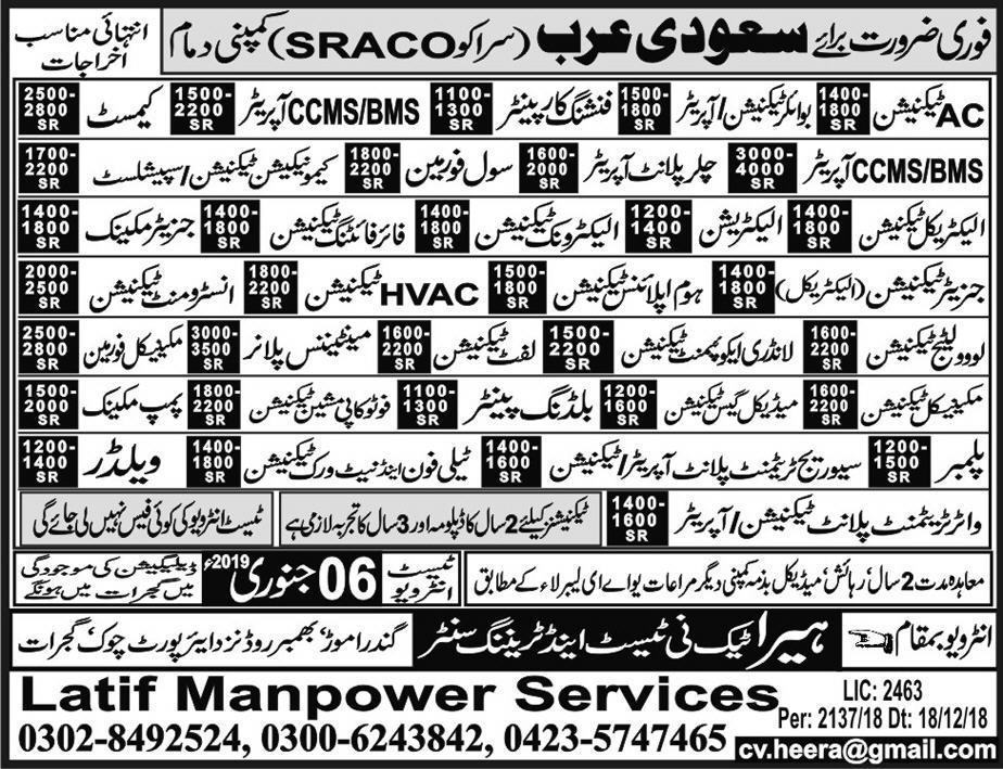 Jobs in Jobs For Saudia
