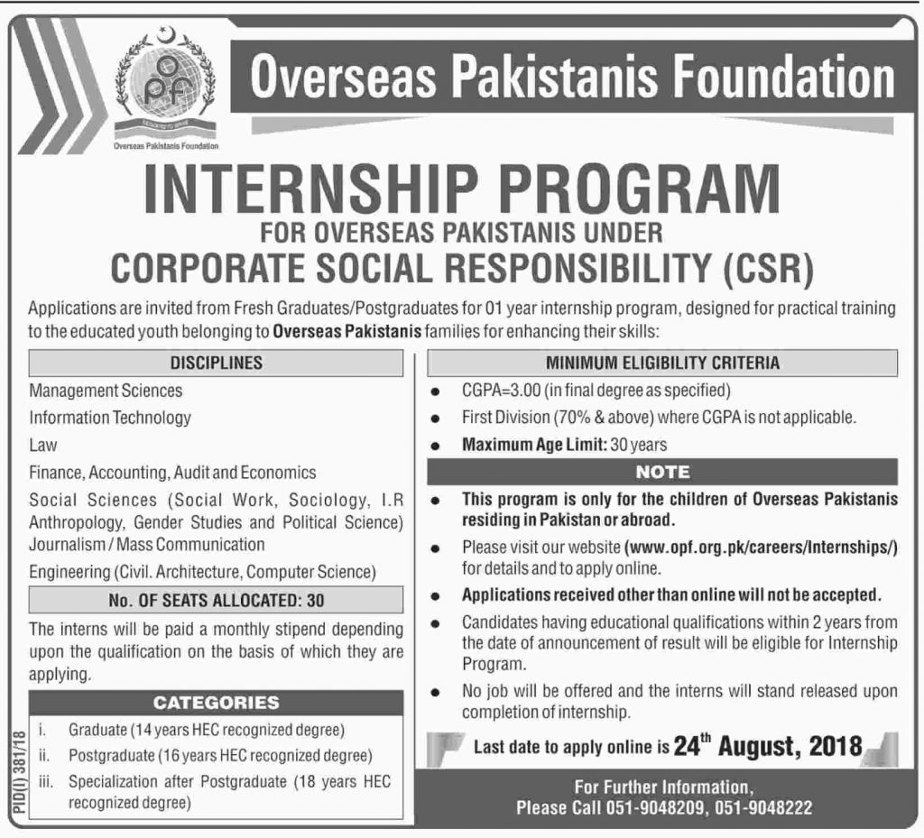 Jobs in Overseas Pakistan Foundation