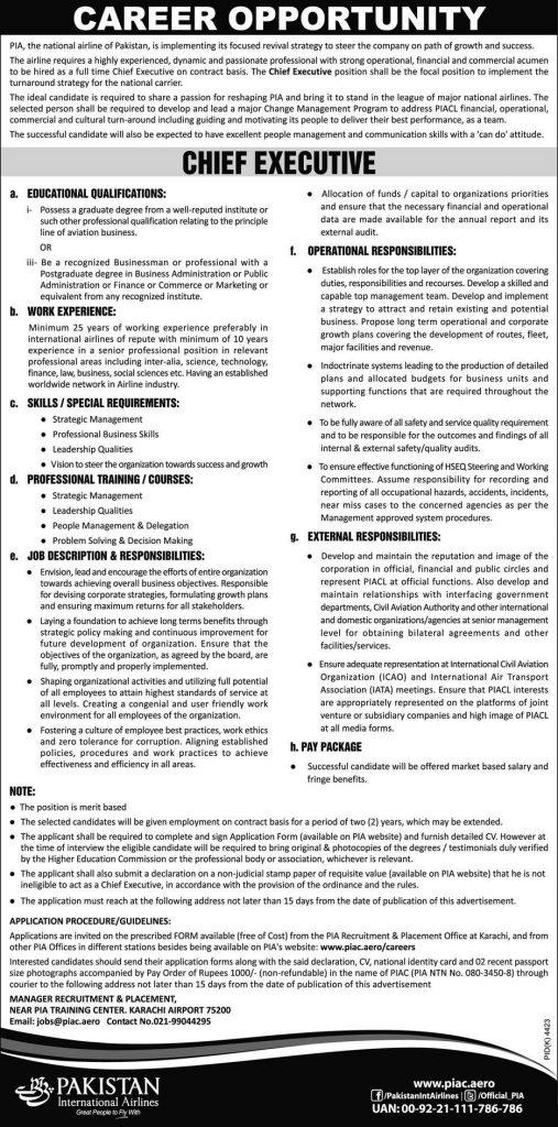 Jobs in Pakistan International Airlines Corporation