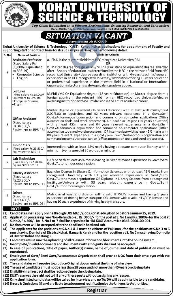 Kohat University Of Science & Technology Kohat Jobs For Assistant Professor