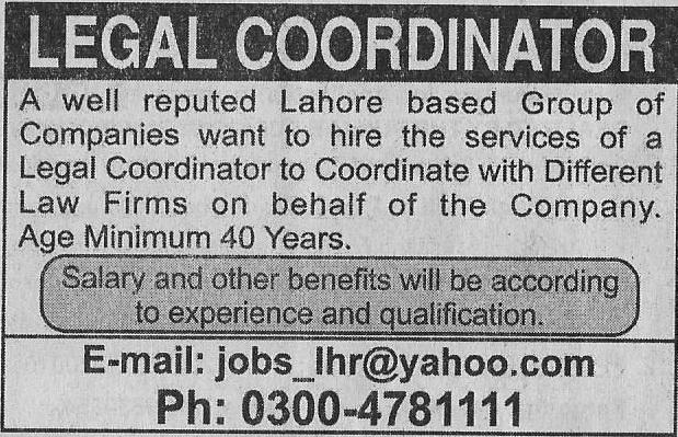 Legal Coordinator Jobs in Lahore
