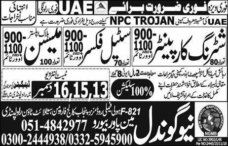 New Gondal Manpower Bureau Rawalpindi Jobs New