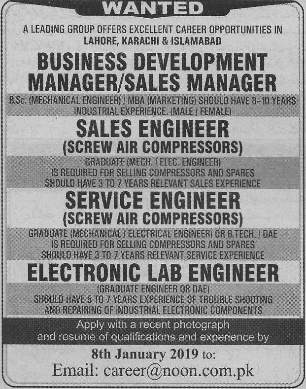 Noon International Private Limited Lahore Jobs For Business Development Manager