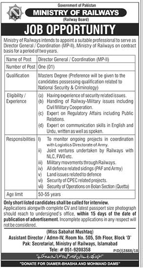 Pakistan Railways Islamabad Jobs