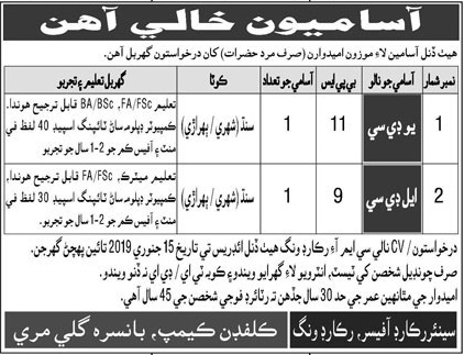 Punjab Government Murree Jobs For Upper Division Clerk