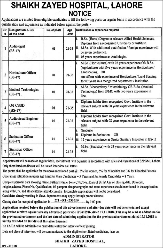 Shaikh Zayed Hospital Lahore Jobs For Audiovisual Engineer Sanitation Officer & Statistical Officer