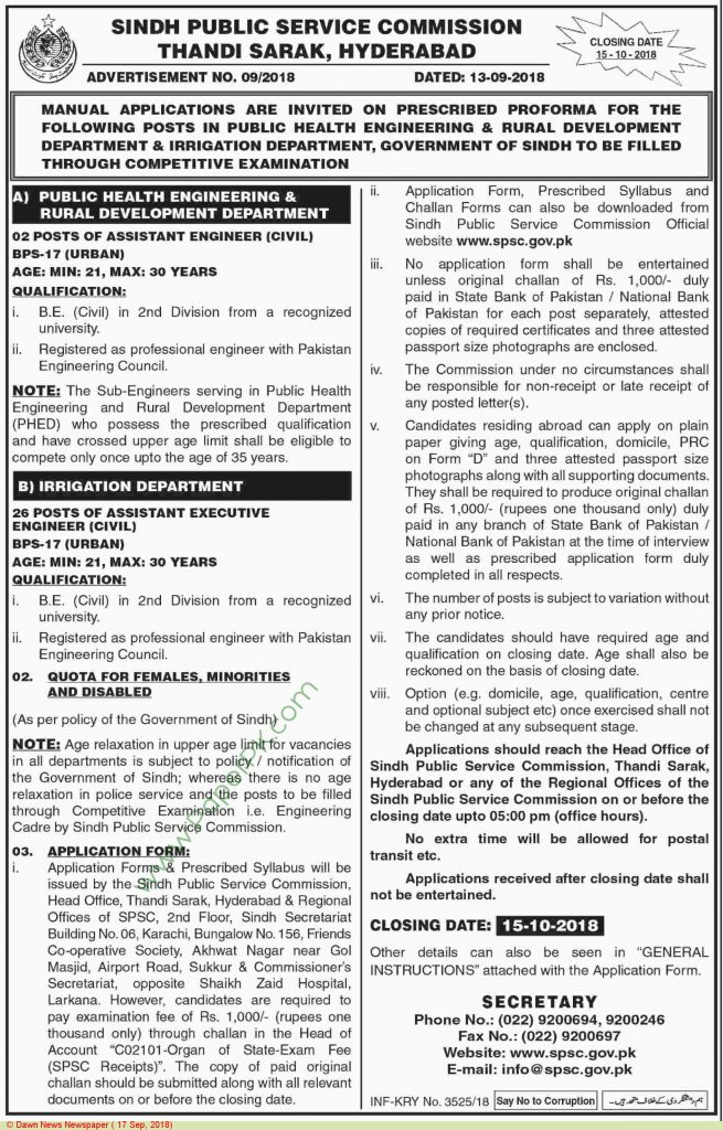 Sindh Public Service Commission Hyderabad Jobs Post