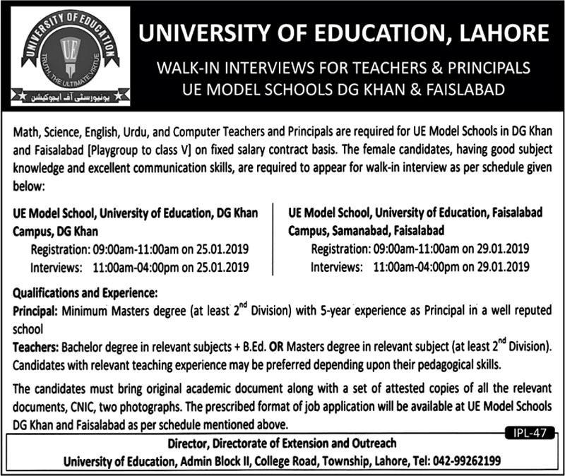 University Of Education Lahore Jobs For Principal